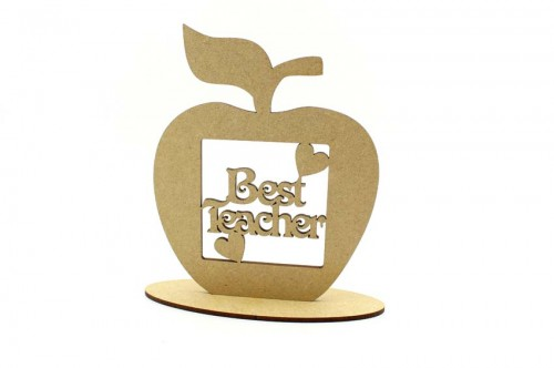 Best Teacher Apple Shape on Plinth MDF Plaque