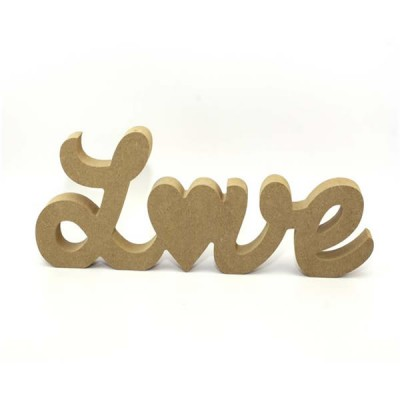 Love with heart MDF Freestanding Sign