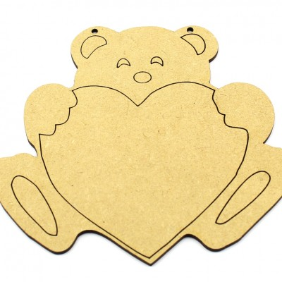 MDF Teddy Bear with Heart - Engraved