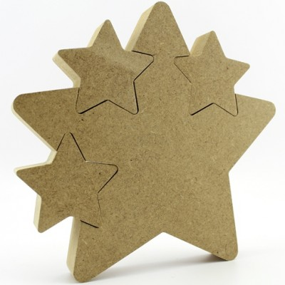 18mm MDF Freestanding Star with 3 Star cutouts