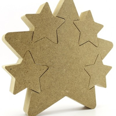 18mm MDF Freestanding Star with 4 Star cutouts (Star In Star)