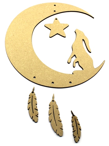 Moon Hare Dream Catcher - Mobile with Feathers