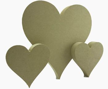 3 mdf hearts
