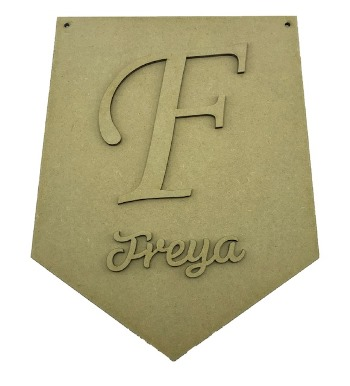 MDF Flag With Initial and Name