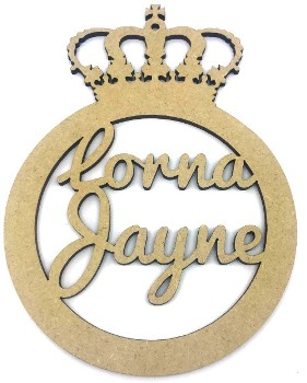Personalised MDF Christmas Bauble With Crown Top
