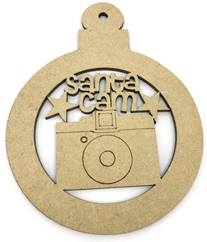 Santa Cam MDF Christmas Bauble Pack of 20
