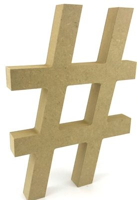 Hashtag # Sign 18mm MDF Freestanding MDF