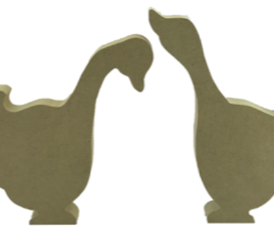 Mother Goose Style Geese Freestanding MDF Set of 2