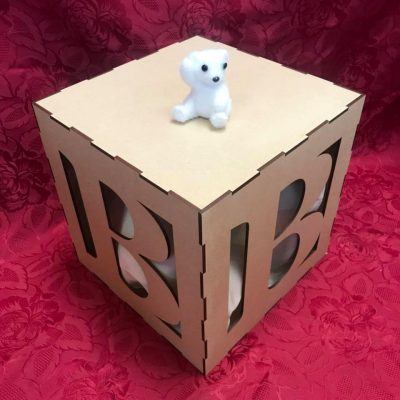 Baby Shower Alphabet Letter Blocks Cubes MDF