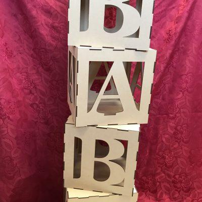 Baby Shower Cubes Alphabet Letter Blocks MDF