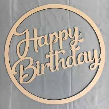 Happy Birthday MDF Large Hoop Ring