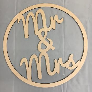 Mr & Mrs Wedding MDF Large Hoop Ring