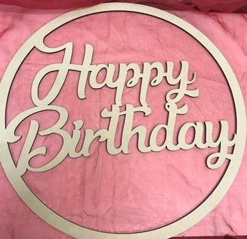 Happy Birthday With Stars MDF Large Hoop Ring