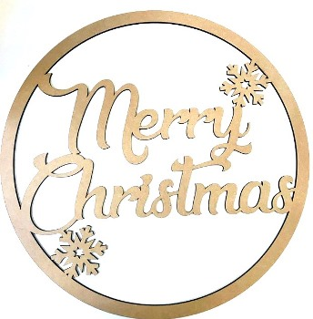 Merry Christmas MDF Hoop Ring