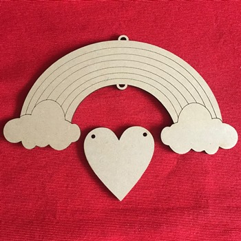 4mm mdf Rainbow with hanging Heart 20cm