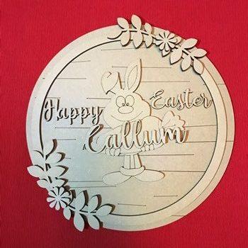 25cm MDF Round Happy Easter Plaque