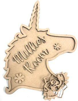 20cm Unicorn Head Personalised MDF Plaque Sign